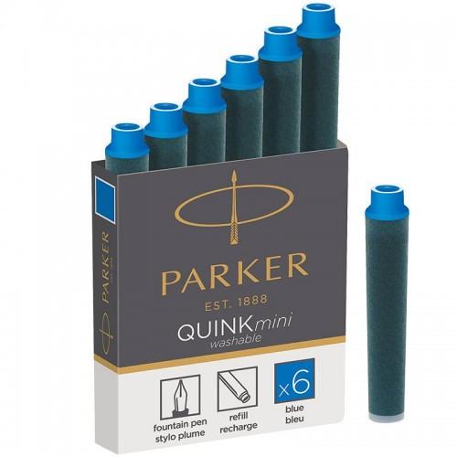 Синие неводостойкие картриджи Parker (Паркер) Quink Mini Cartridges Washable Blue 6шт в Санкт-Петербурге