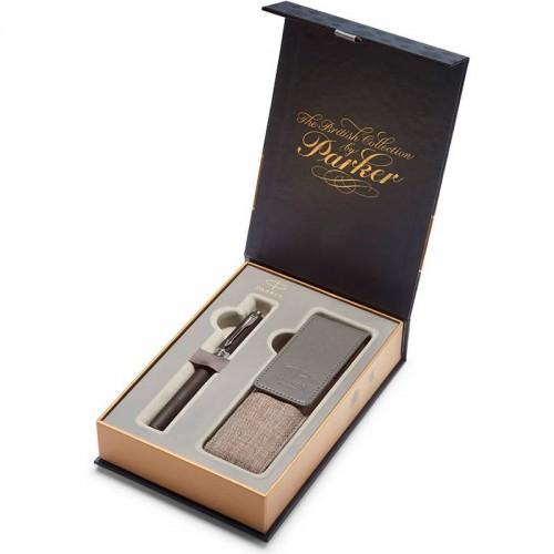 Подарочный набор из ручки Parker (Паркер) 5th Ingenuity Large Black Rubber CT и чехла в Санкт-Петербурге