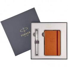 Набор с блокнотом и перьевой ручкой Parker (Паркер) Urban Premium Pearl Metal CT M