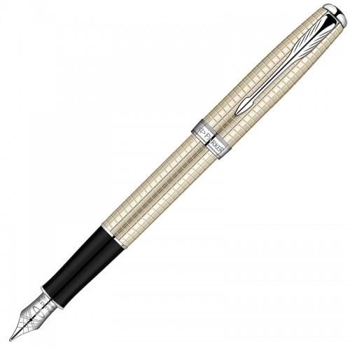 Перьевая ручка Parker (Паркер) Sonnet Cisele Decal Silver CT F 18К в Санкт-Петербурге