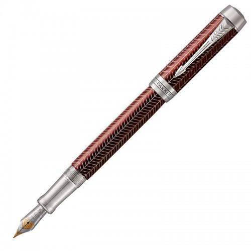 Перьевая ручка Parker (Паркер) Duofold Prestige Centennial Burgundy Chevron CT F в Санкт-Петербурге